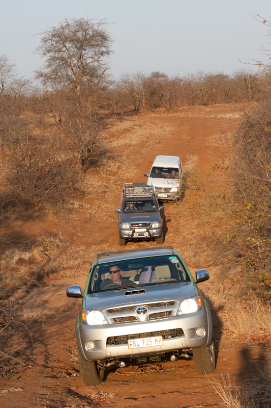 Vehicles in convoy on the first leg of the eco trail