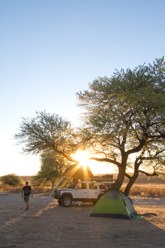 The sun sets over Mabuasehube campsite no. 2.