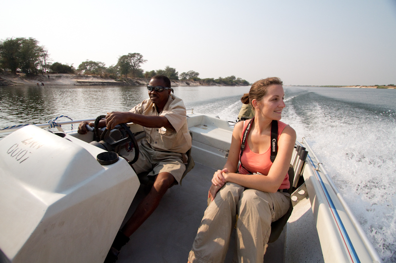 A short boat ride on the Zambezi will take you from Kalizo Lodge to the bee-eater colony.