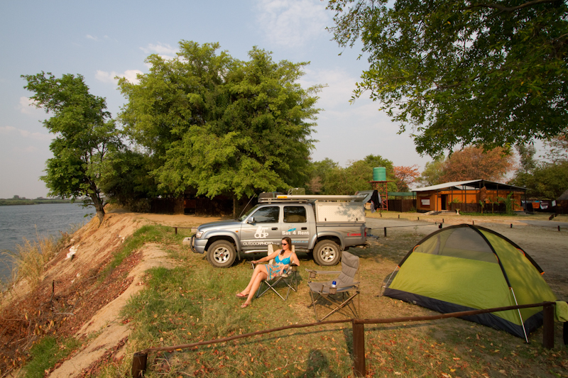 Kalizo Lodge's campsite overlooks the Zambezi River.
