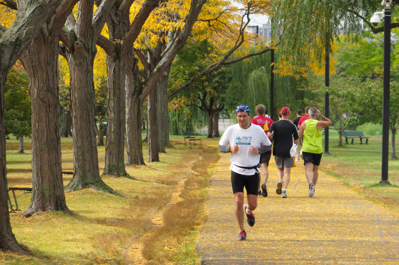 The Charles River Esplanade is jam-packed with joggers every afternoon.
