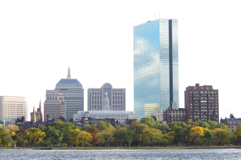 A typical city view from a boat cruise on the Charles River.