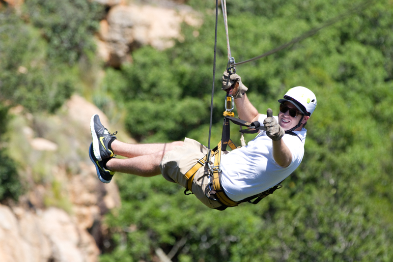 The longest zip line is 140 metres long.