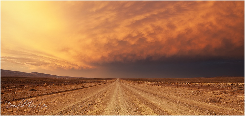 Monster Storm cell over the Tankwa Karoo. The setting sun has light up the clouds and made t look like something from another world.