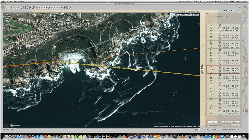 Screen shot of the exact area on TPE app showing the sunrise and sunset direction for that specific point.
