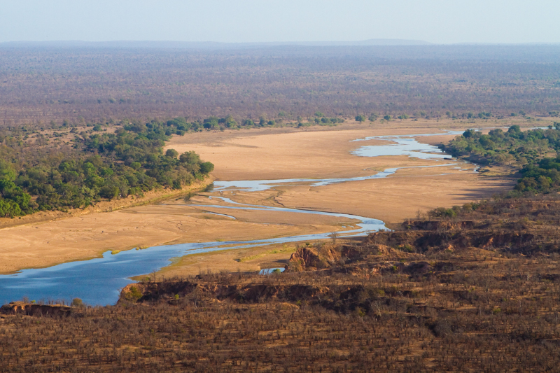 The snaking Runde River photographed late in the dry season.